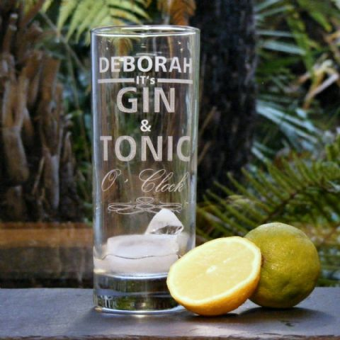 Personalised Engraved Gin and Tonic O'Clock Drinks Glass